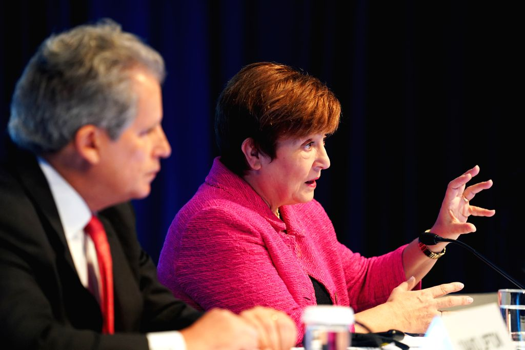 WASHINGTON, Oct. 18, 2019 - International Monetary Fund (IMF) Managing Director Kristalina Georgieva (R) gestures during a press conference in Washington D.C., the United States, Oct. 17, 2019. ...