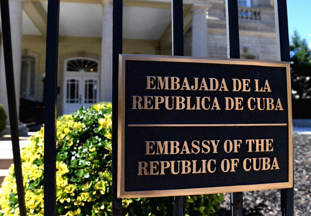 WASHINGTON, Oct. 3, 2017 - The doorplate of the Cuban Embassy in the United States is seen in Washington D.C., the United States, on Oct. 3, 2017. The U.S. government Tuesday announced it has asked ...