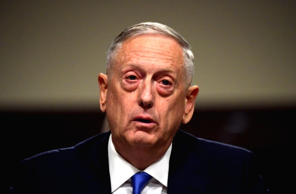 WASHINGTON, Oct. 3, 2017 - U.S. Defense Secretary Jim Mattis testifies during a hearing before Senate Armed Services Committee on Capitol Hill in Washington D.C., the United States, on Oct. 3, 2017. ...