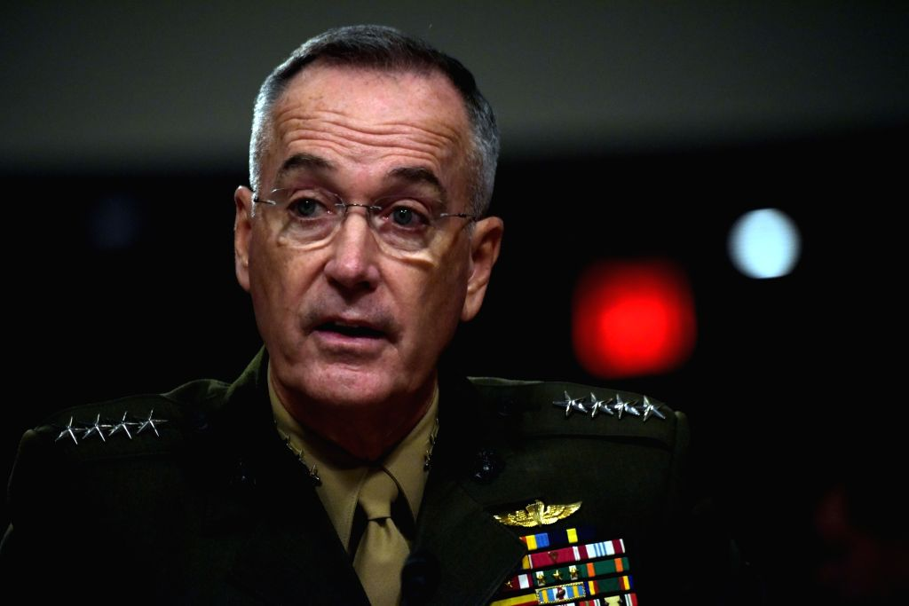 WASHINGTON, Oct. 3, 2017 - U.S. Joint Chiefs of Staff Joseph Dunford testifies during a hearing before Senate Armed Services Committee on Capitol Hill in Washington D.C., the United States, on Oct. ...