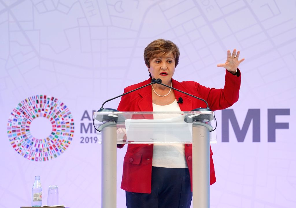 WASHINGTON, Oct. 9, 2019 (Xinhua) -- Kristalina Georgieva, the new chief of the International Monetary Fund (IMF) delivers a speech in Washington D.C., the United States, on Oct. 8, 2019. Trade disputes are taking a toll on global economy, substantia