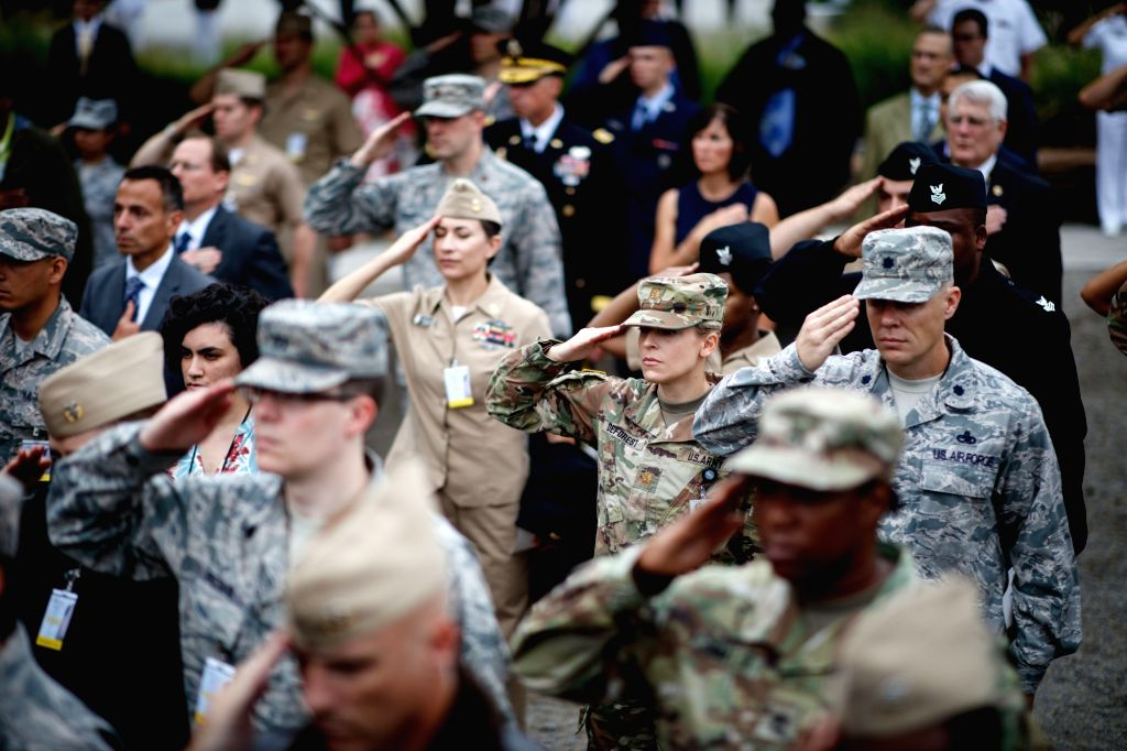 WASHINGTON, Sept. 11, 2018 - Military members and guests attend a ceremony marking the 17th anniversary of the Sept. 11 attacks at the Pentagon in Arlington, Virginia, the United States, on Sept. 11, ...