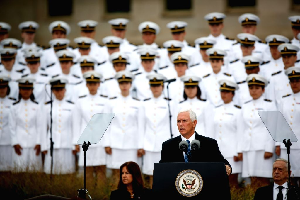 WASHINGTON, Sept. 11, 2018 - U.S. Vice President Mike Pence (Front) speaks during a ceremony marking the 17th anniversary of the Sept. 11 attacks at the Pentagon in Arlington, Virginia, the United ...