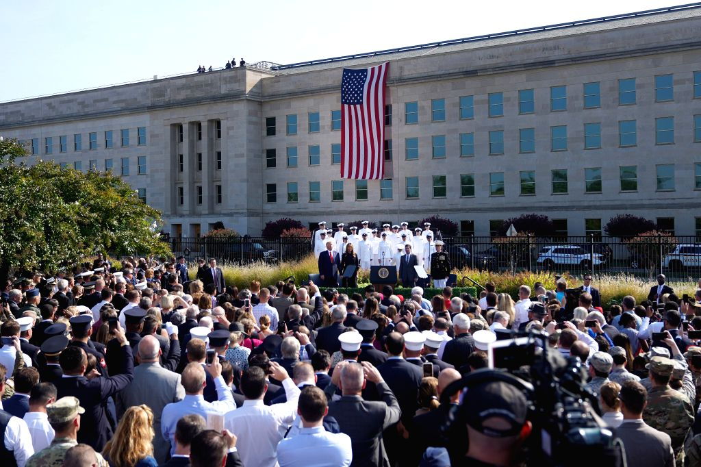 WASHINGTON, Sept. 11, 2019 - A ceremony marking the 18th anniversary of the 9/11 attacks is held at the Pentagon in Arlington, Virginia, the United States, on Sept. 11, 2019.