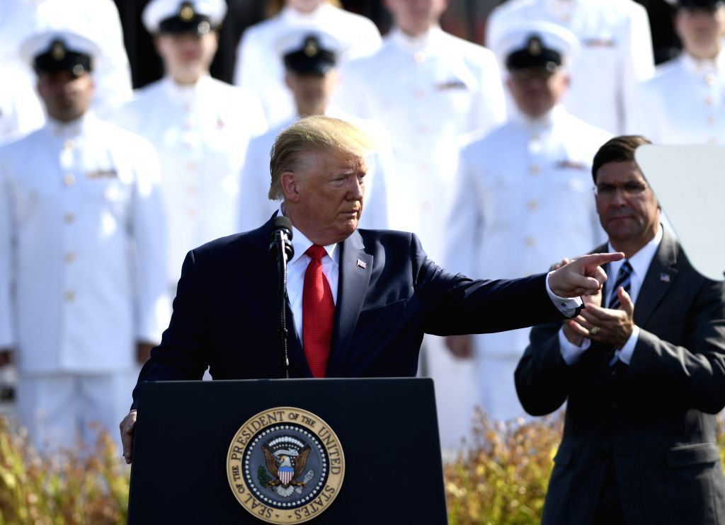 WASHINGTON, Sept. 11, 2019 - U.S. President Donald Trump (Front) participates in a ceremony marking the 18th anniversary of the 9/11 attacks at the Pentagon in Arlington, Virginia, the United States, ...