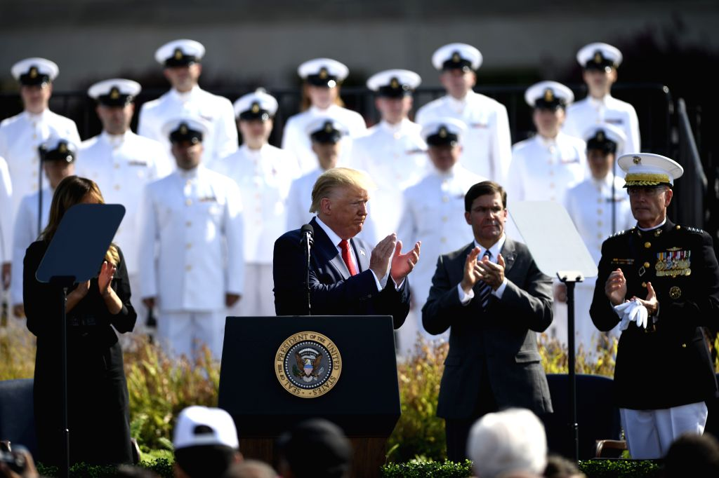 WASHINGTON, Sept. 11, 2019 - U.S. President Donald Trump (C-L) participates in a ceremony marking the 18th anniversary of the 9/11 attacks at the Pentagon in Arlington, Virginia, the United States, ...