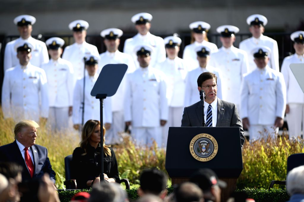 WASHINGTON, Sept. 11, 2019 - U.S. Secretary of Defense Mark Esper (C-R) speaks during a ceremony marking the 18th anniversary of the 9/11 attacks at the Pentagon in Arlington, Virginia, the United ...
