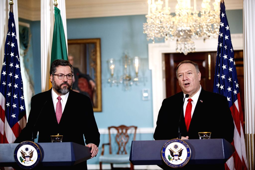WASHINGTON, Sept. 13, 2019 - U.S. Secretary of State Mike Pompeo (R) and Brazilian Foreign Minister Ernesto Araujo hold a joint press conference at the Department of State in Washington D.C., the ... - Ernesto Araujo