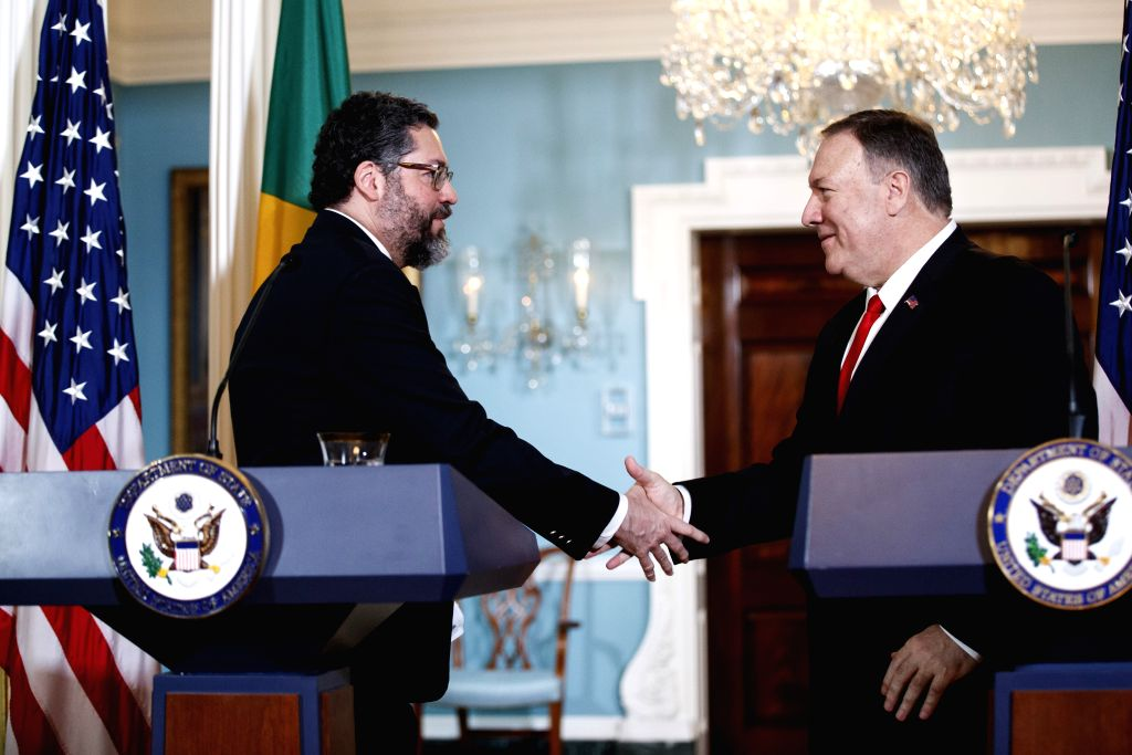 WASHINGTON, Sept. 13, 2019 - U.S. Secretary of State Mike Pompeo (R) shakes hands with Brazilian Foreign Minister Ernesto Araujo during a joint press conference at the Department of State in ... - Ernesto Araujo