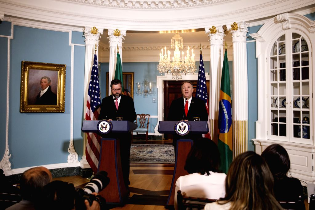 WASHINGTON, Sept. 13, 2019 - U.S. Secretary of State Mike Pompeo (R, Rear) and Brazilian Foreign Minister Ernesto Araujo (L, Rear) hold a joint press conference at the Department of State in ... - Ernesto Araujo