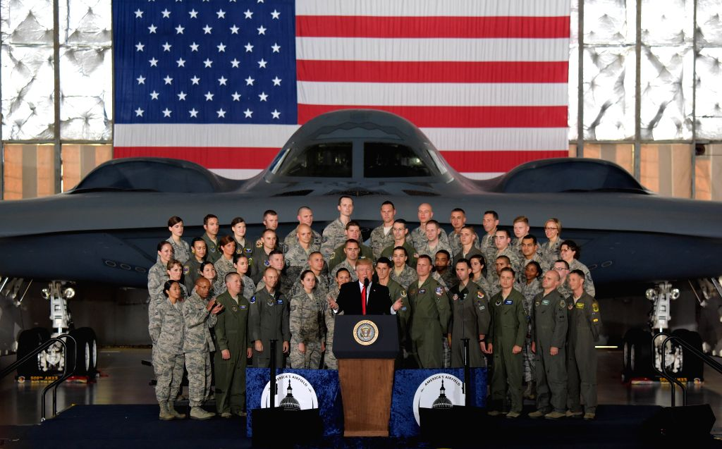 WASHINGTON, Sept. 15, 2017 - U.S. President Donald Trump (Front) delivers remarks to military personnel and families at Joint Base Andrews in Maryland, the United States, on Sept. 15, 2017. U.S. ...
