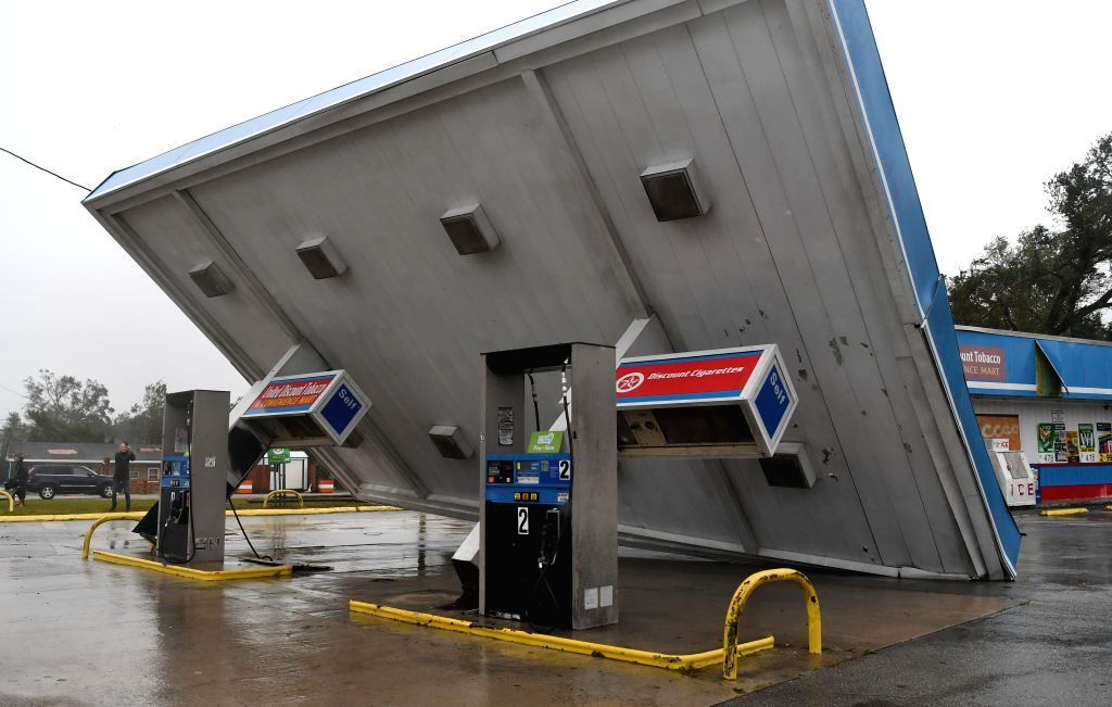 WASHINGTON, Sept. 15, 2018 - A gas station near the coastline was damaged by the storm in North Carolina, the United States, on Sept. 14, 2018. At least five people have been killed so far in the ...