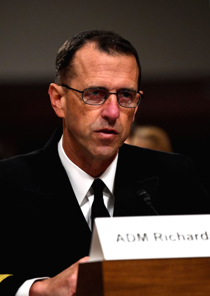 WASHINGTON, Sept. 19, 2017 - Chief of Naval Operations Admiral John Richardson testifies during a hearing on recent U.S. Navy incidents before Senate Armed Services Committee on Capitol in Washington ...