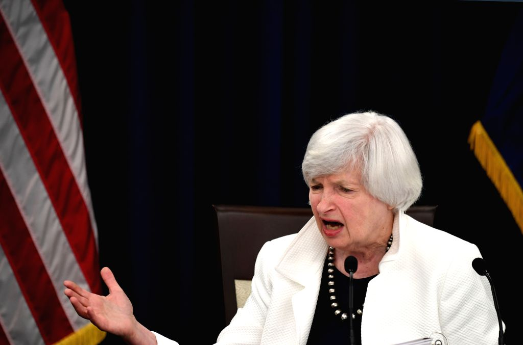 WASHINGTON, Sept. 20, 2017 - U.S. Federal Reserve Chair Janet Yellen speaks during a news conference in Washington D.C., capital of the United States, on Sept. 20, 2017. The U.S. Federal Reserve on ...