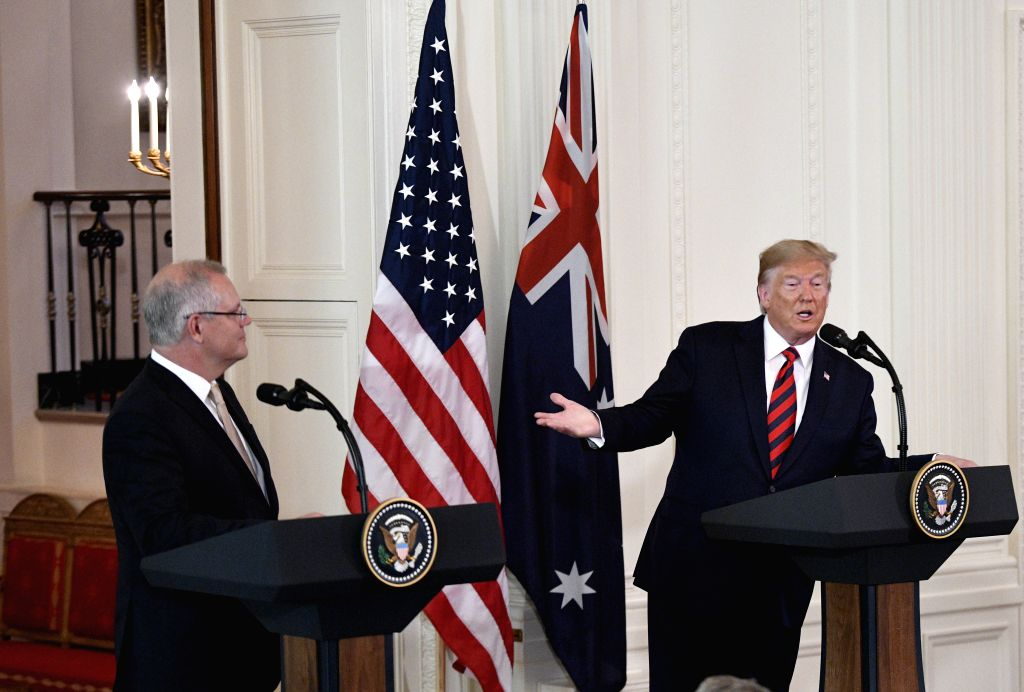 WASHINGTON, Sept. 20, 2019 - U.S. President Donald Trump (R) speaks at a joint press conference with visiting Australian Prime Minister Scott Morrison at the White House in Washington D.C., the ... - Scott Morrison