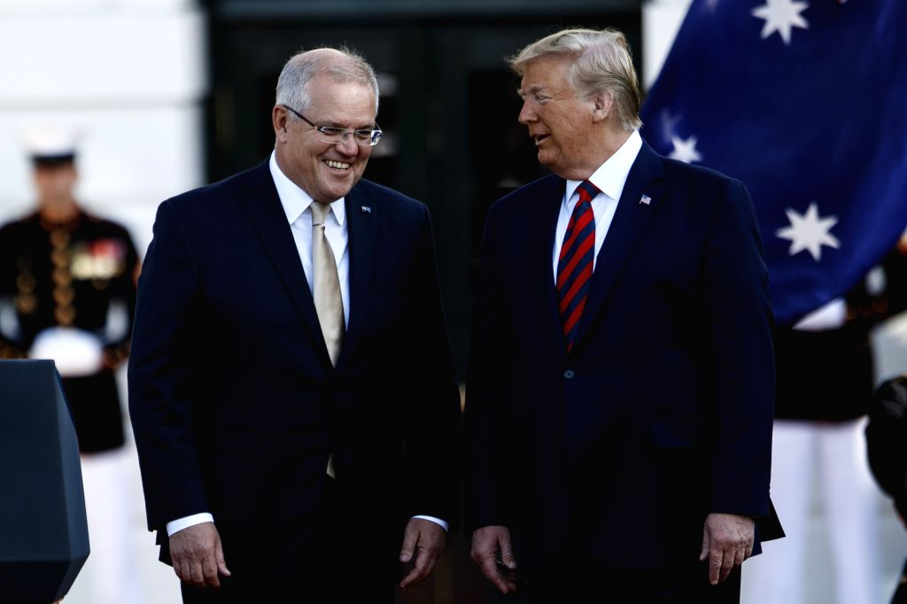 WASHINGTON, Sept. 20, 2019 - U.S. President Donald Trump (R) welcomes Australian Prime Minister Scott Morrison during a ceremony at the White House in Washington D.C., the United States, on Sept. 20, ... - Scott Morrison