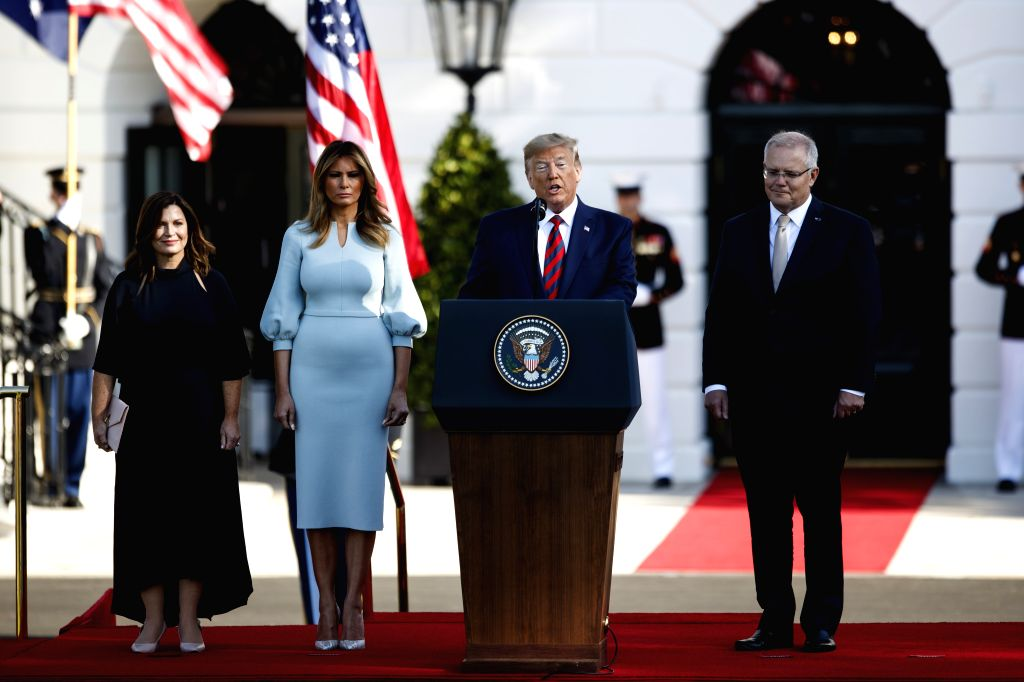 WASHINGTON, Sept. 20, 2019 - U.S. President Donald Trump (2nd R, Front) welcomes Australian Prime Minister Scott Morrison (1st R, Front) during a ceremony at the White House in Washington D.C., the ... - Scott Morrison