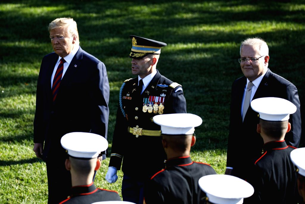 WASHINGTON, Sept. 20, 2019 - U.S. President Donald Trump (L, Rear) welcomes Australian Prime Minister Scott Morrison (R, Rear) during a ceremony at the White House in Washington D.C., the United ... - Scott Morrison