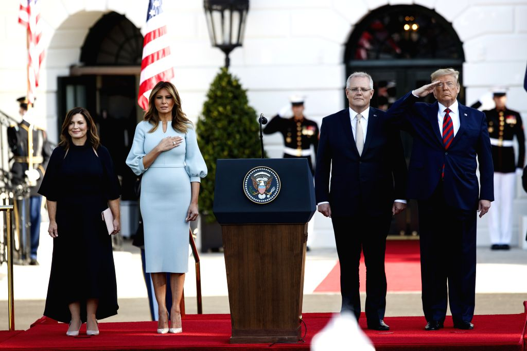 WASHINGTON, Sept. 20, 2019 - U.S. President Donald Trump (1st R, Front) welcomes Australian Prime Minister Scott Morrison (2nd R, Front) during a ceremony at the White House in Washington D.C., the ... - Scott Morrison
