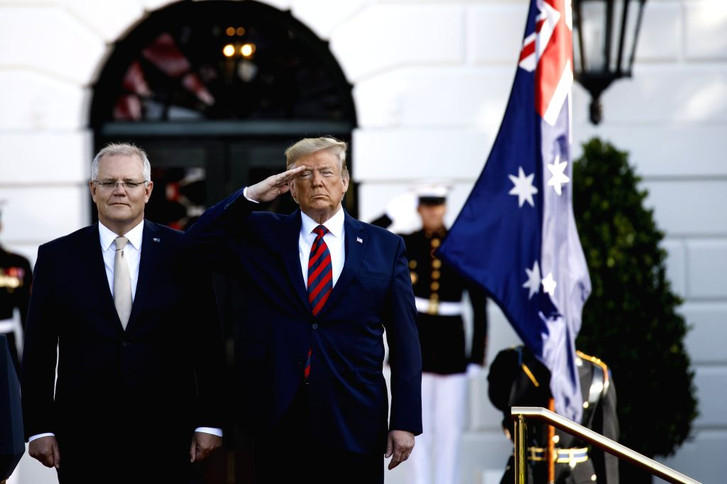 WASHINGTON, Sept. 20, 2019 - U.S. President Donald Trump (R, Front) welcomes Australian Prime Minister Scott Morrison (L, Front) during a ceremony at the White House in Washington D.C., the United ... - Scott Morrison