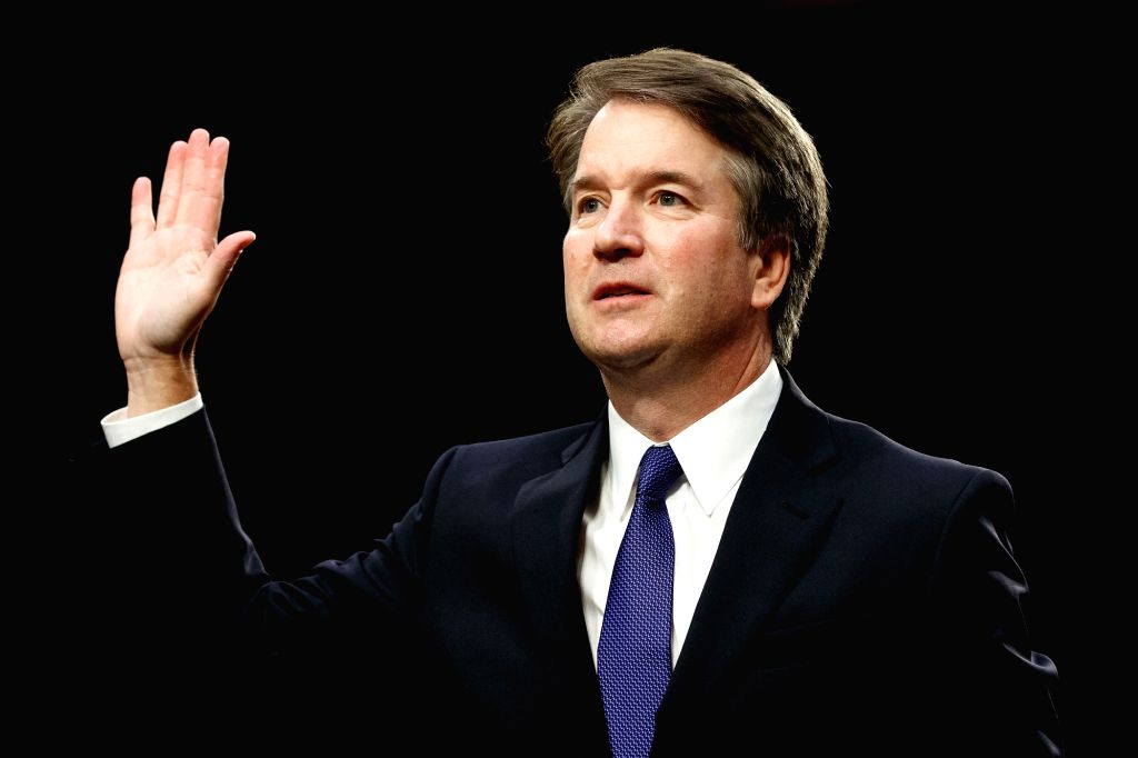 WASHINGTON, Sept. 5, 2018 - U.S. Supreme Court nominee Judge Brett Kavanaugh swears in during his Senate confirmation hearing on Capitol Hill in Washington D.C., the United States, Sept. 4, 2018. The ...