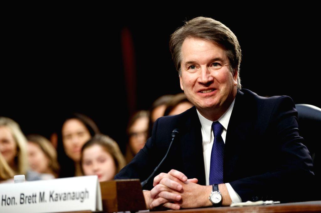 WASHINGTON, Sept. 5, 2018 - U.S. Supreme Court nominee Judge Brett Kavanaugh speaks during his Senate confirmation hearing on Capitol Hill in Washington D.C., the United States, Sept. 4, 2018. The ...