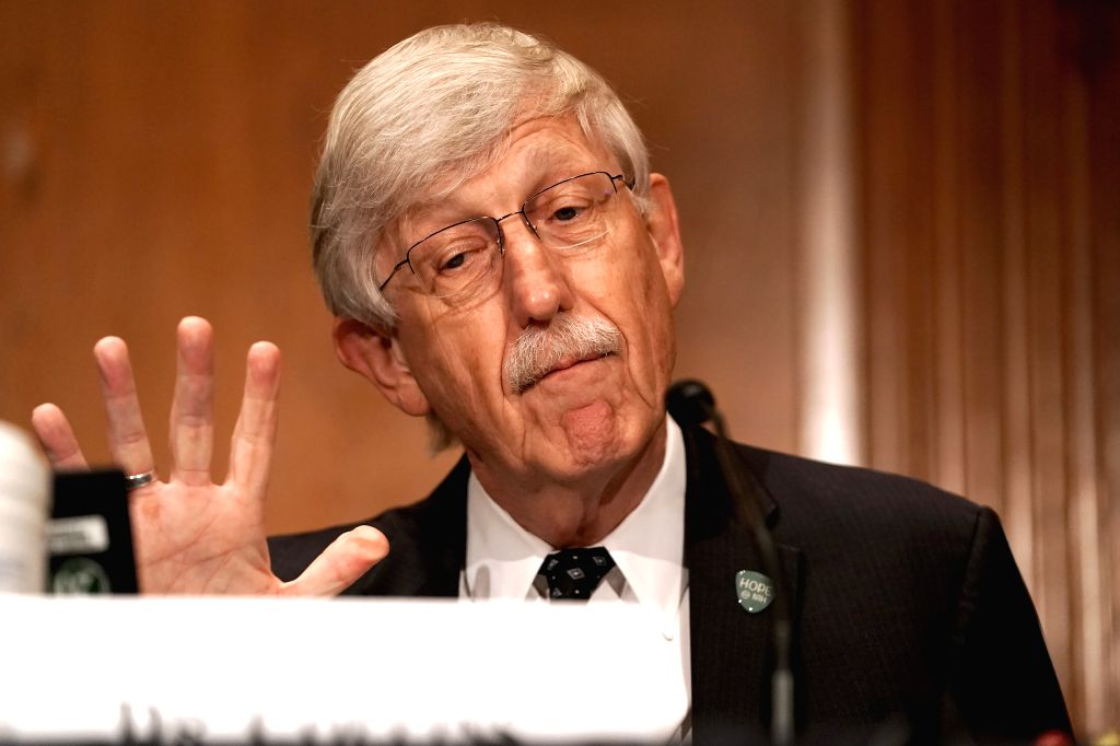 """Washington, Sept. 9, 2020 (Xinhua) -- U.S. National Institutes of Health (NIH) Director Francis Collins testifies before the U.S. Senate Health, Education, Labor and Pensions Committee during a hearing titled """"Vaccines: Saving Lives, Ensuring Confide"""