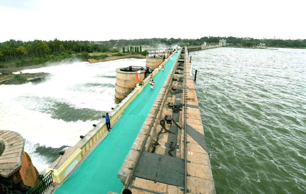 Water being released from Krishna Raja Sagara (KRS) dam, in Mysuru, on July 20, 2018.
