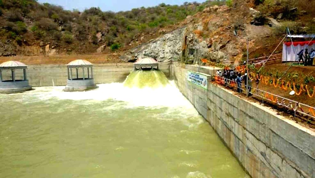 Water being released from the Sripada Yellampalli project at as part of the first trial run of Package 6 of the Kaleshwaram Lift Irrigation Scheme (KLIS), at Yellampalli in Telangana's ...