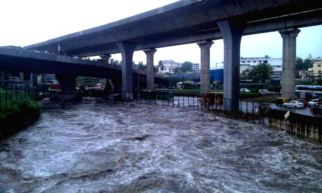 Water from Vrishabhavathi river inundates Bengaluru roads, on Oct 5, 2017.