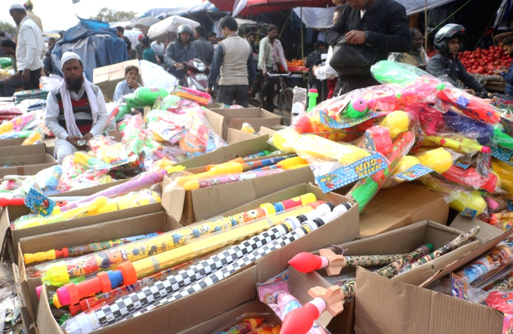 Water guns being sold ahead of Holi , in New Delhi, on March 14, 2019.