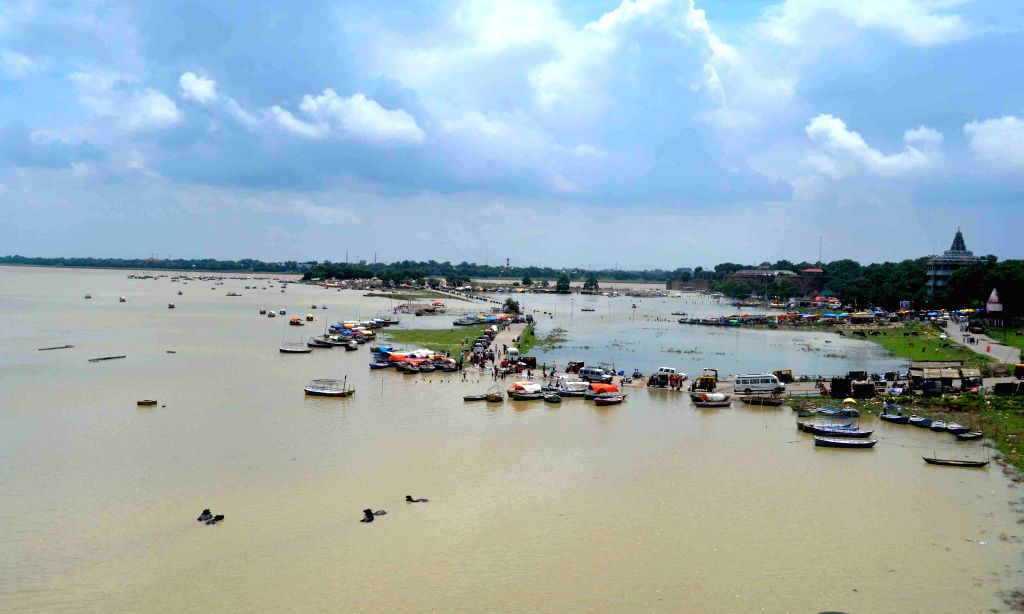 Water level rises in the Ganga river in Allahabad, on Aug 18, 2015.