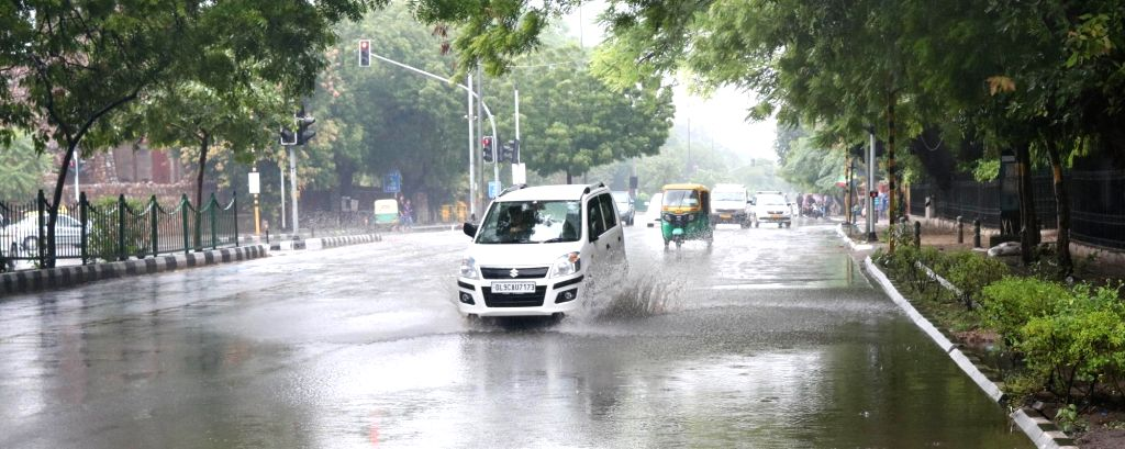 Water logged roads after heavy rains lash New Delhi on July 16, 2016.
