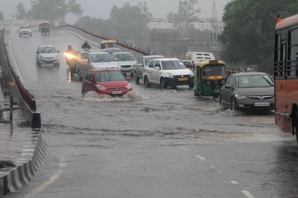 Water-logged roads of Delhi on Aug 1, 2016.