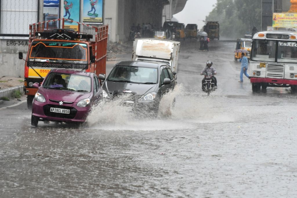 Water-logged roads of Hyderabad on Sept 16, 2016.