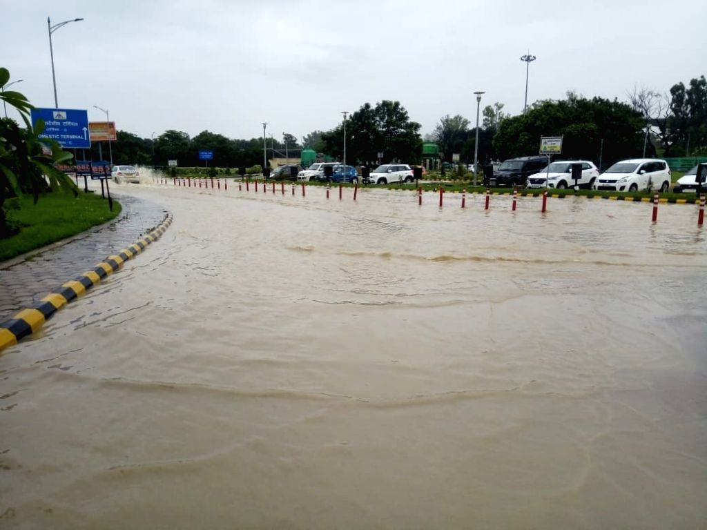 Water logging at Chaudhary Charan Singh Airport following heavy rains in Lucknow on Aug 4, 2018.