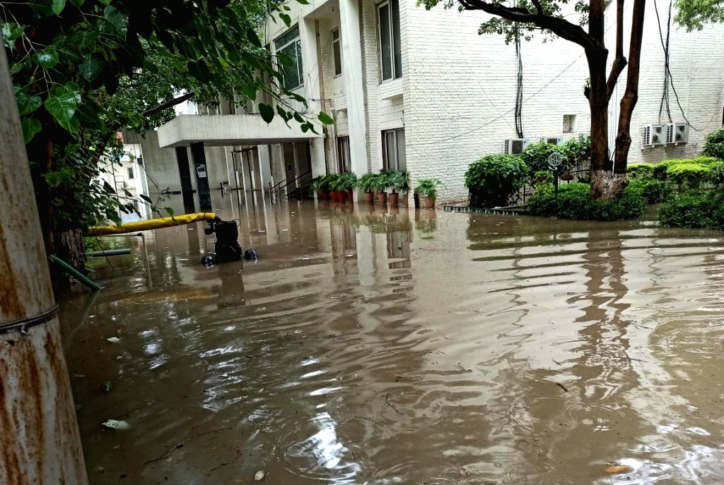 Water logging in Gurugram's Sector 14.