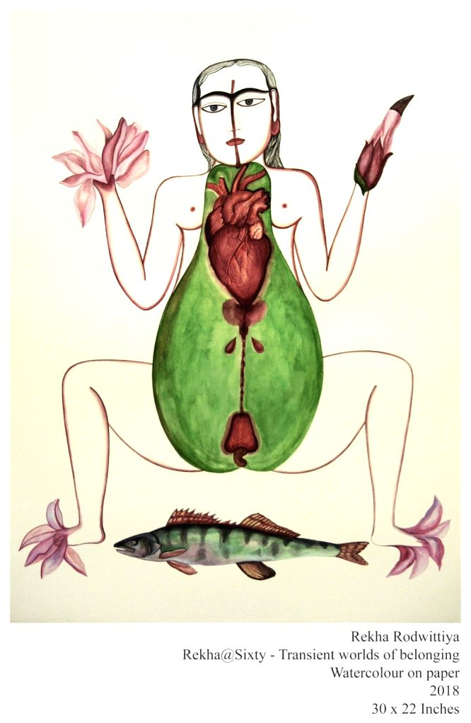 Watercolour works by Rekha Rodwittiya. - Rekha