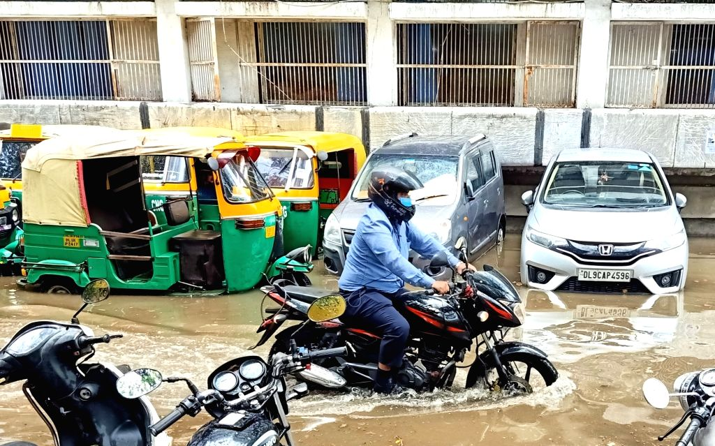 Waterlogged floor of RML Hospital and outside the Hospital, following heavy rains in New Delhi on Thursday June, 17, 2021.