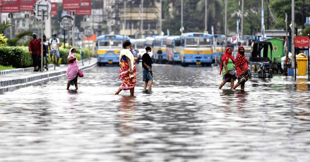 Waterlogged road during heavy rain in Kolkata on Friday, 18 June, 2021.