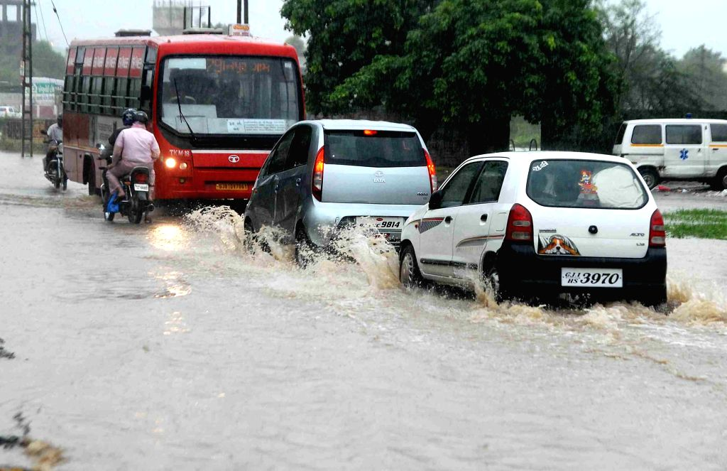 Waterlogged streets of Ahmedabad, on July 28, 2015.
