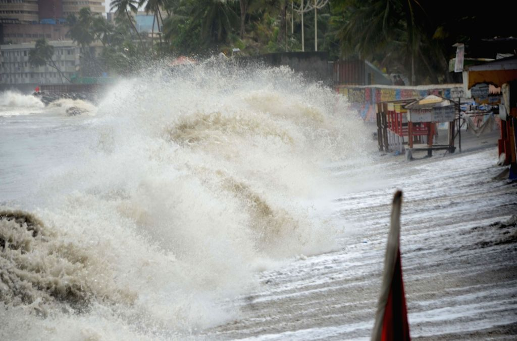 Waves hit the shore in Mumbai on June 14, 2019.