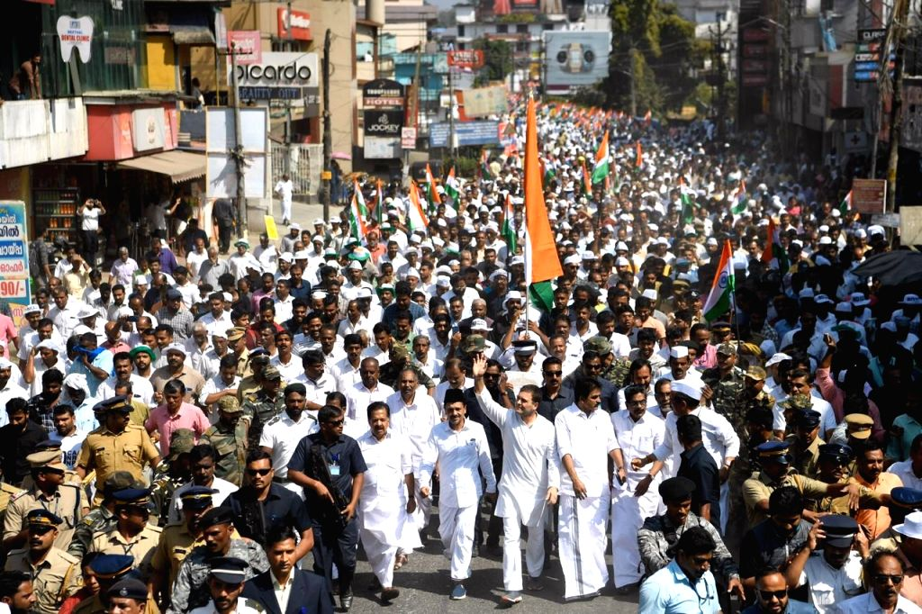 Wayanad: Congress leader and Wayanad MP Rahul Gandhi during the 'Save the Constitution March' against the Citizenship (Amendment) Act at Kalpetta in Kerala's Wayanad, on Jan 30, 2020. (Photo: IANS) - Rahul Gandhi