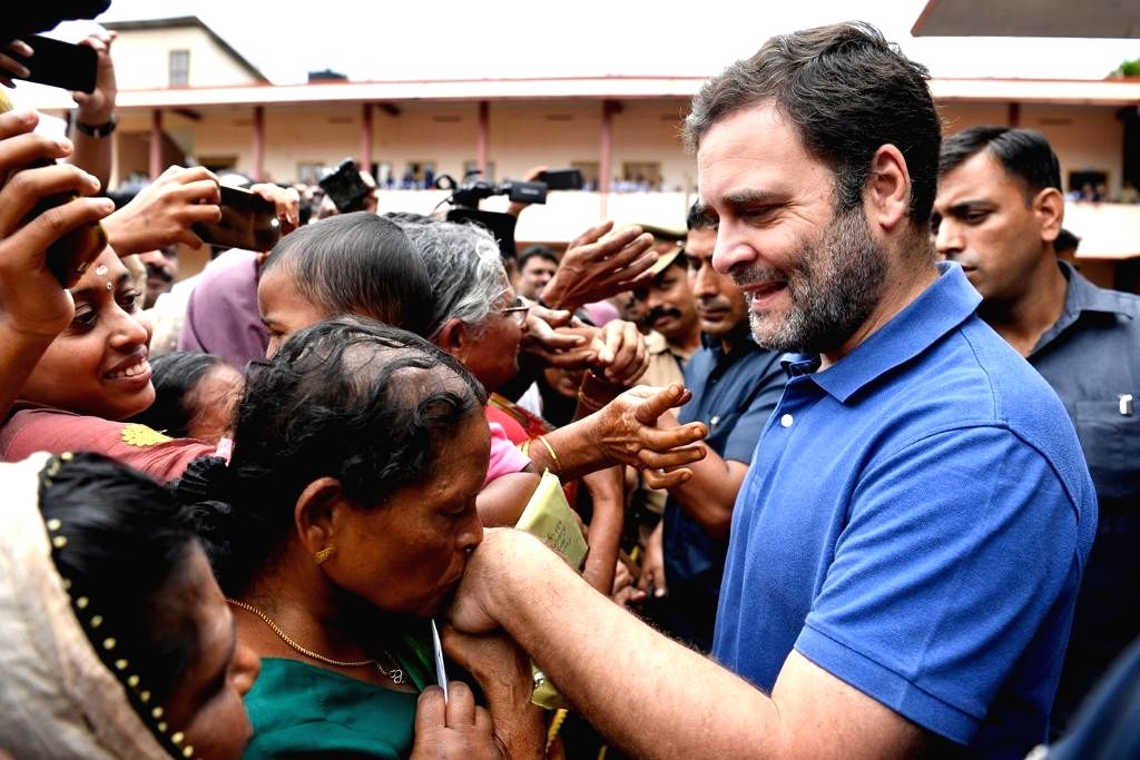 Wayanad: Congress leader Rahul Gandhi interacts with flood victims in Wayanad, Kerala on Aug 29, 2019. (Photo: IANS) - Rahul Gandhi