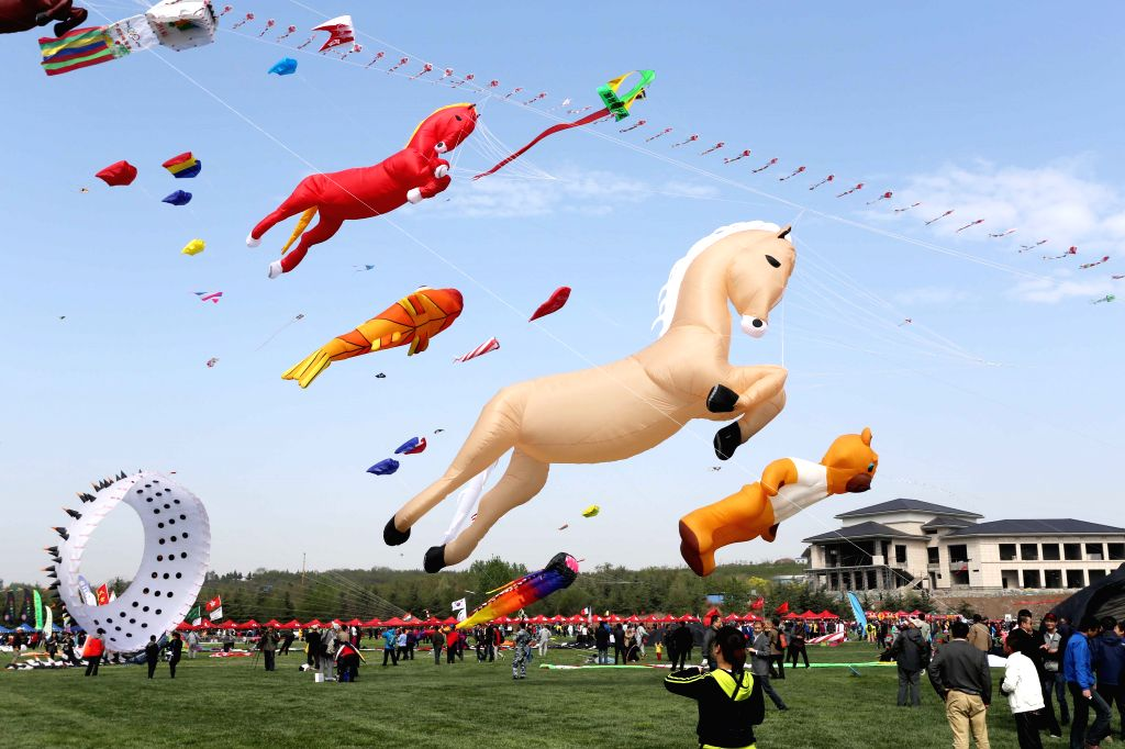 Kites fly in the sky during the 31st Weifang International Kite Festival in Weifang, east China's Shandong Province, April 19, 2014.