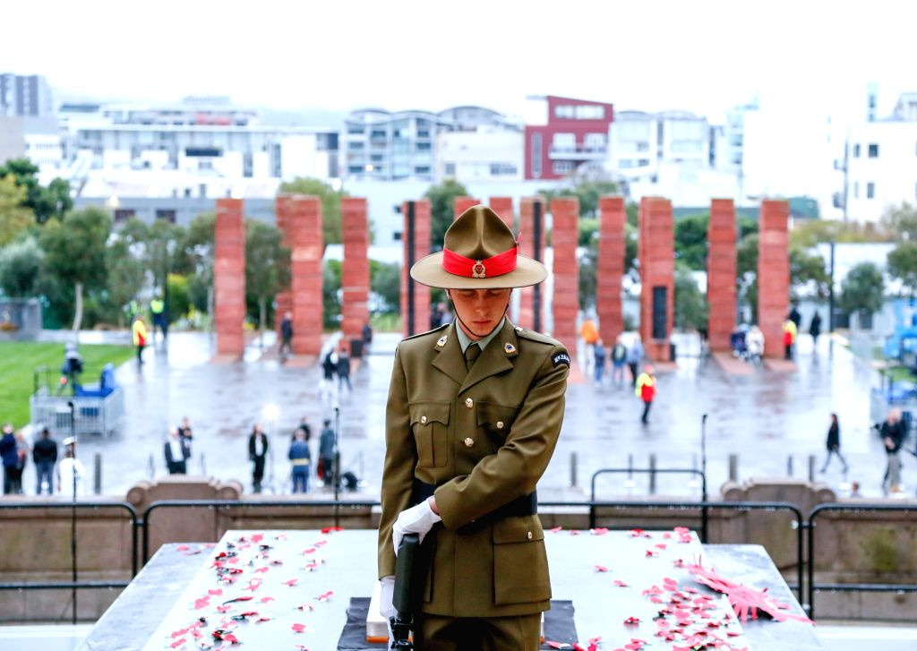 WELLINGTON, April 25, 2019 - A soilder gestures during the ANZAC Day ceremony in Wellington, New Zealand, April 25, 2019. Anzac Day marks the April 25, 1915 landing of Australian and New Zealand ...