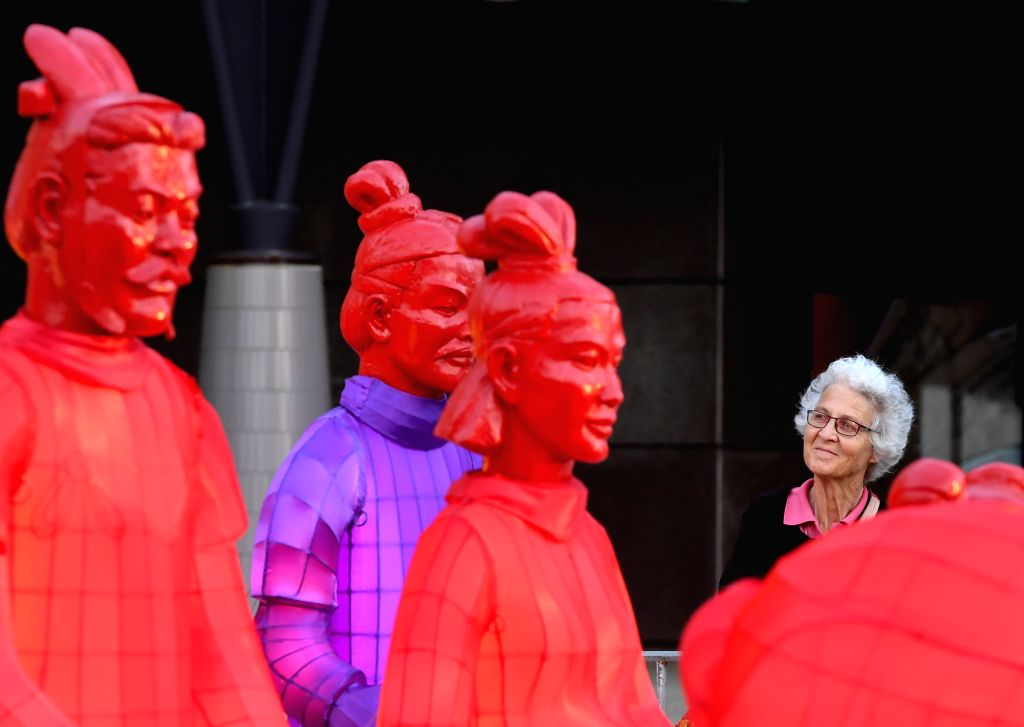 WELLINGTON, Feb. 5, 2019 - Terracotta Warrior lanterns are on display outside the National Museum of New Zealand, in Wellington, New Zealand on Feb. 5, 2019. To celebrate the Chinese Lunar New Year, ...