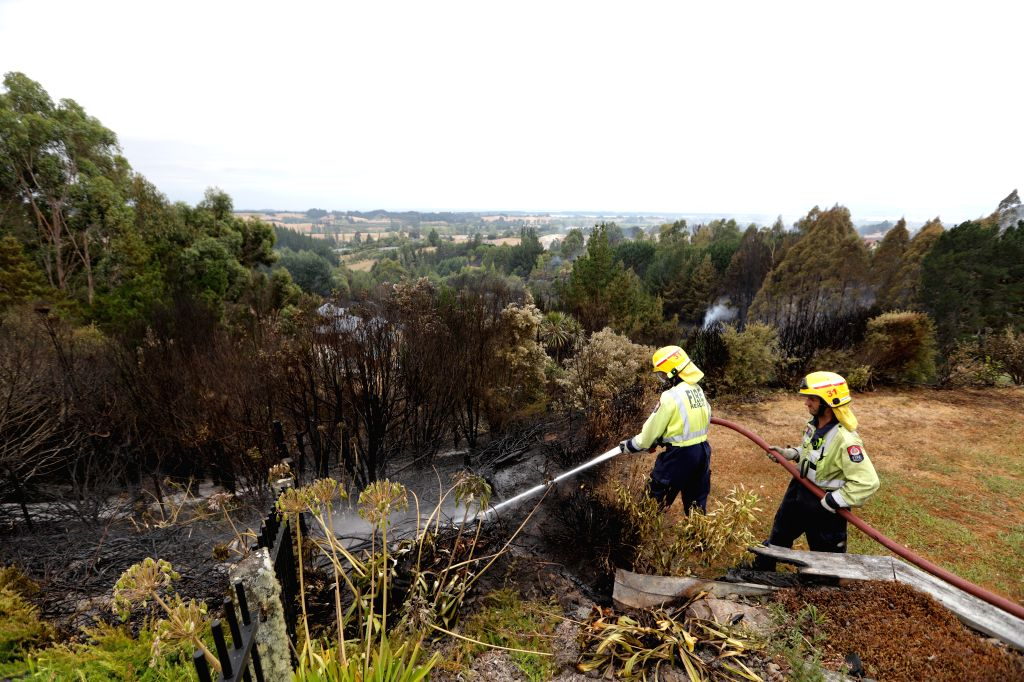WELLINGTON, Feb. 7, 2019 - Firefighters battle a bush fire at Redwood Valley in Nelson of South Island, New Zealand, Feb. 6, 2019. A bush fire started Tuesday in the South Island's Tasman region and ...