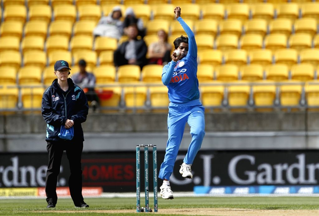 Wellington (New Zealand):  India's Arundhati Reddy in action during the first women's Twenty20 International match between India and New Zealand at Westpac Stadium in Wellington, New Zealand on Feb 6, 2019. (Photo: Surjeet Yadav/IANS) - Arundhati Reddy and Surjeet Yadav