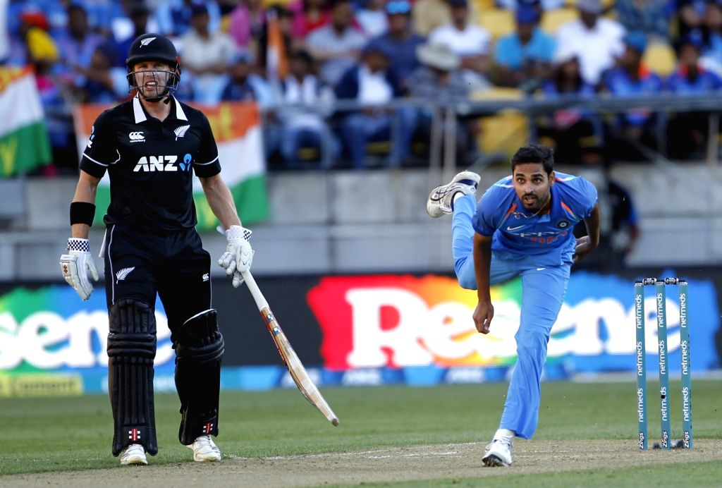 Wellington (New Zealand): India's Bhuvneshwar Kumar in action during the fifth ODI match between India and New Zealand at Westpac Stadium in Wellington, New Zealand on Feb 3, 2019. - Bhuvneshwar Kumar